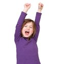image photo : Young girl cheering with raised arms