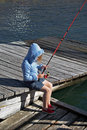 young Girl child fishing Royalty Free Stock Photo