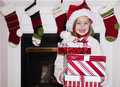 Young Girl with Christmas Presents Royalty Free Stock Photo