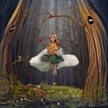 Young girl on cloud sit a and swinging outside in a forest Royalty Free Stock Photography