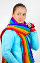 Young girl with colored colored scarf Royalty Free Stock Image
