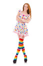 Young girl with colourful clothing on white Royalty Free Stock Photos