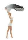 Young girl in dance with flying cloth Stock Photography