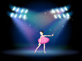 A young girl dancing ballet with spotlights illustration of Stock Image