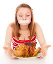 Young girl on a diet, and want to eat meat Royalty Free Stock Photo