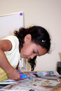 Young Girl Doing Crafts Stock Images