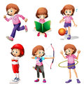 A young girl doing different activities illustration of on white background Royalty Free Stock Photography