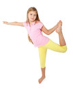 Young girl doing gymnastics Stock Images