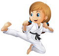 A young girl doing karate Royalty Free Stock Photo