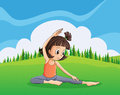 A young girl doing yoga at the hilltop illustration of Stock Photo