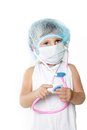 Young girl dressed as doctor over white Stock Photography