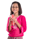 Young girl drinks watermelon juice i asian drinking with white background Royalty Free Stock Photos