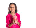 Young girl drinks watermelon juice viii asian drinking with white background Stock Photo