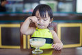Young girl eating ice cream Royalty Free Stock Photo