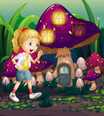 A young girl at the enchanted mushroom house illustration of Stock Photography