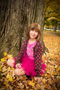 Young Girl Enjoying Autumn Stock Photos