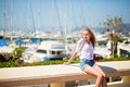 Young girl enjoying her vacation by the sea nice looking Stock Image
