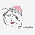 Young girl face in hat for international women s day celebration with beautiful on grey background Royalty Free Stock Photo