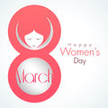 Young girl face for international women s day celebration in pink text march Royalty Free Stock Photos