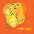 Young girl face for international women s day celebration with side of a beautiful on orange background Royalty Free Stock Photo