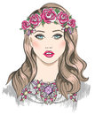 Young girl fashion illustration girl with flowers in her hair and statement necklace Stock Photos
