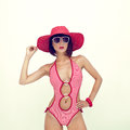 Young girl in fashionable swimsuit Stock Photo