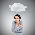 Young girl feels cold isolated on grey background with cloud Stock Photos