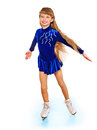 Young girl figure skating happy isolated Stock Photo