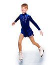 Young girl figure skating happy isolated Stock Photography