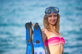 Young Girl With Fins Royalty Free Stock Photo