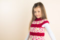 Young Girl with Flowing Hair, wearing Knitted Dress Stock Photos