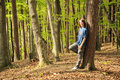 Young girl in forest Royalty Free Stock Photography