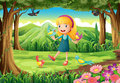 A young girl at the forest with birds Royalty Free Stock Photos