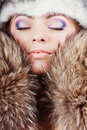 Young girl in fur hat Royalty Free Stock Image