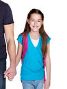 Young girl going to school with her father Stock Photos