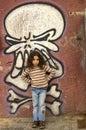 Young girl grafitti wall Royalty Free Stock Photo