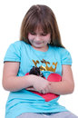 Young girl with hamster portrait of isolated on white background Royalty Free Stock Images