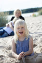 Young girl having fun at beach. Royalty Free Stock Photo