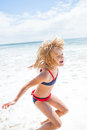 Young girl having fun at beach Royalty Free Stock Photo