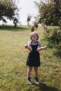 A young girl is having fun in the farm Royalty Free Stock Photo