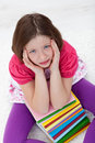 Young girl with headache from too much learning Royalty Free Stock Photo