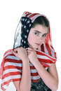 Young girl with headdress scarf a poses innocently an american covering her head Stock Images