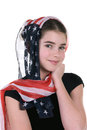 Young girl with headdress scarf a poses innocently an american covering her head Royalty Free Stock Photography