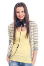 Young girl with headphones Royalty Free Stock Images