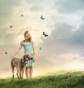 Young Girl with Her Dog Royalty Free Stock Photo