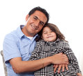 Young girl with her father at home Stock Photo