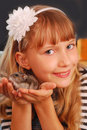 Young girl with her hamster Royalty Free Stock Images