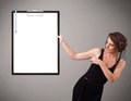Young girl holding black folder with white sheet copy space beautiful Royalty Free Stock Photography