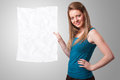 Young girl holding crumpled white paper copy space beautiful Stock Photography
