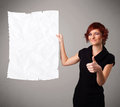 Young girl holding crumpled white paper copy space beautiful Royalty Free Stock Image